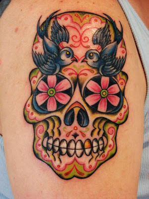 colorful skull with blue birds tattoo colorful skull with blue birds tattoo