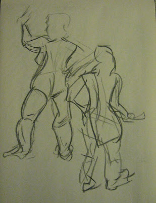 ... model that wasn't young and skinny for once. One minute gesture drawings