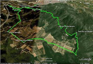 Mapa de la ruta Fons de la Granata