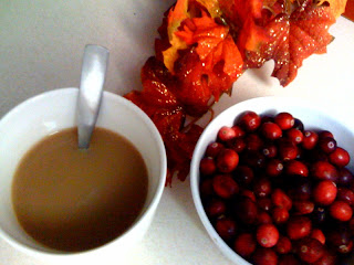 Chai Tea, a bowl of fresh cranberries, and some holiday leafies