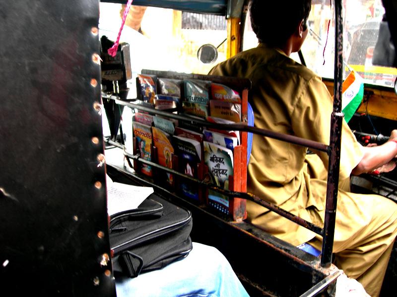 books in a auto rickshaw in mumbai by kunal bhatia