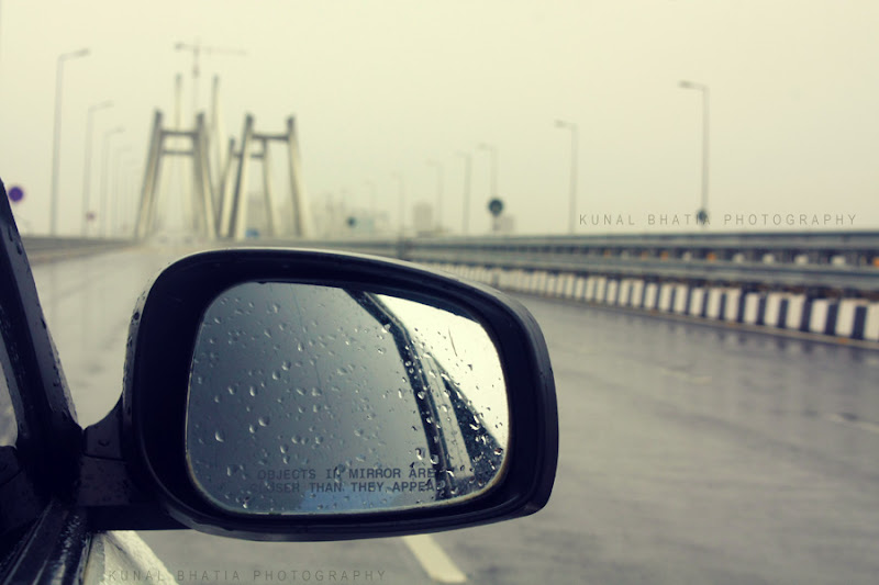 car side mirror on bandra worli sea link driving in mumbai by kunal bhatia