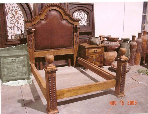 Mexican Furniture Mesquite Leather And Wrought Iron Bed