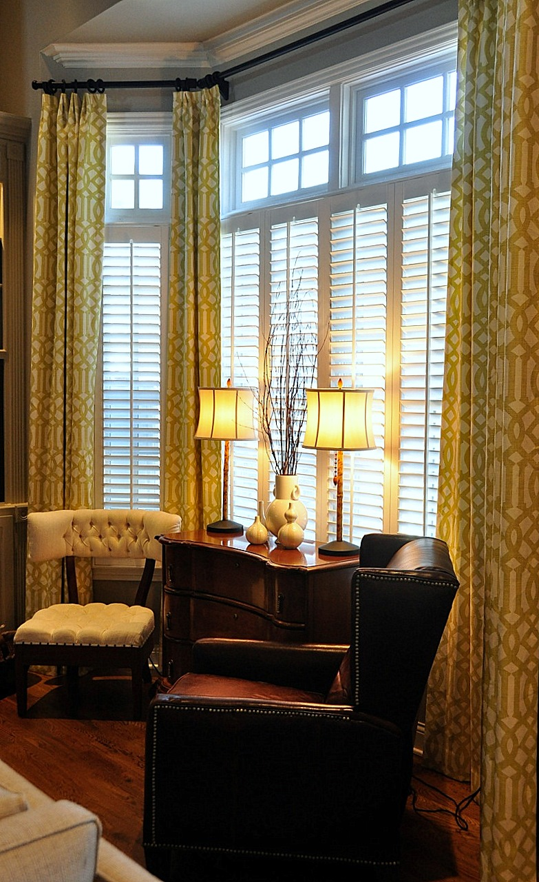 Tall window treatments on pinterest - Living room bay window treatments ...