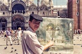 Jeovah pintando ao vivo na praça de São Marcos.