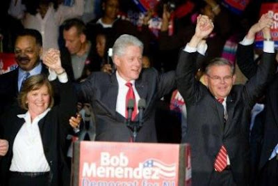 Linda Stender and Bob Menendez with Bill Clinton