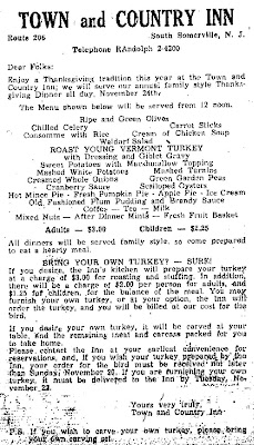 November 1960 Ad for Thanksgiving Dinner at the Town and Country Inn