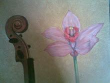 Uno de mis cuadros, inacabado. Dedicado al violinista Nabil Akbib.
