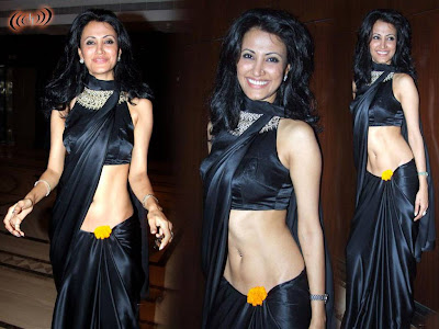Indian Women In Low Waist Saree