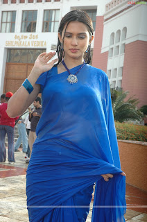film masala: Gowri Pandit boobs show in wet blue saree