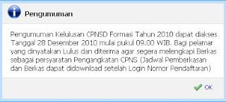 pengumuman cpns 2010 jawa tengah