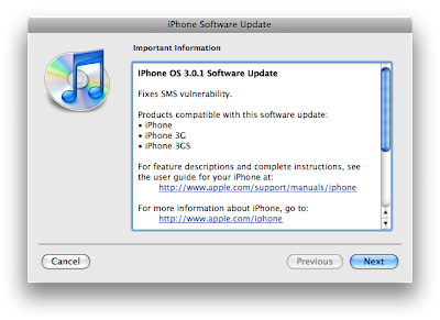 iPhone 3.0.1 update