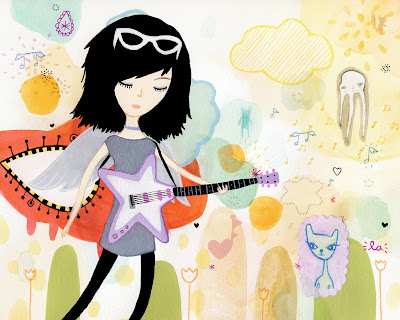 cool rock star girl playing guitar. Keywords: