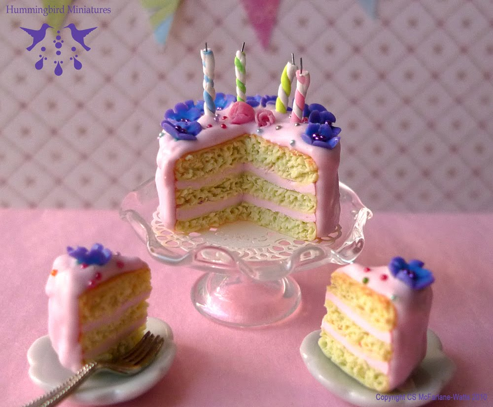 Hummingbird Miniatures Flowers Sparkles Birthday Cake