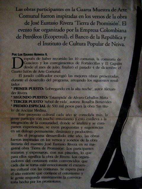 GANADOR 4 MUESTRA DE ARTE COMUNAL DEL HUILA