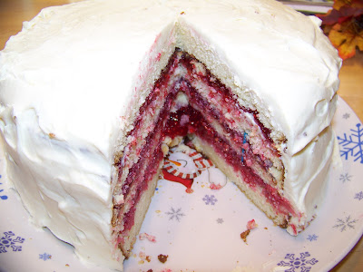 Just crumbs white chocolate cake with raspberry filling