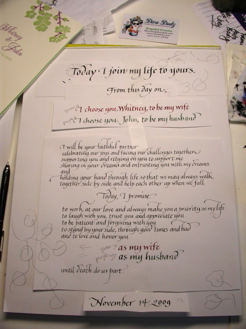 beautiful calligraphy  calligraphy wedding vows
