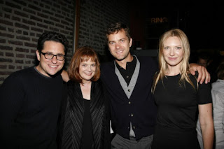 J.J. Abrams (left), creator of Fox's upcoming SF series Fringe, joined cast members Blair Brown (from left), Joshua Jackson and Anna Torv at the show's premiere party in New York on Aug. 25.