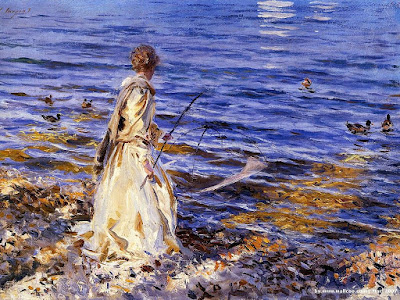Cartoon Girl Fishing. Painterly approach in painting