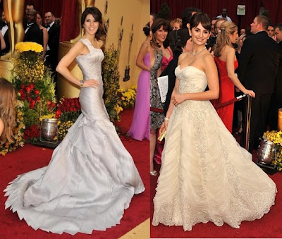 Penelope Cruz In White Pierre Balmain Dress For Oscars 2009