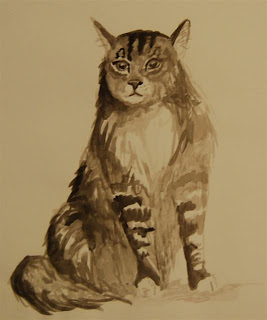 tabby cat in ink