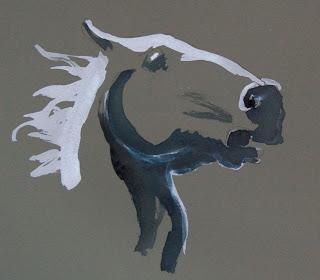 startled horse, in ink