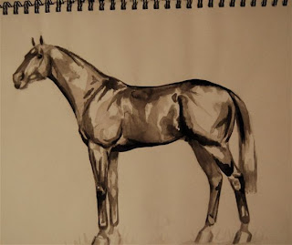 thoroughbred painting in ink by ophelia keys