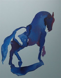 ink painting of horse by ophelia keys