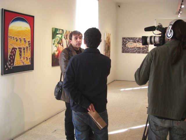 The Artist Santiago Ribeiro giving an interview to TV
