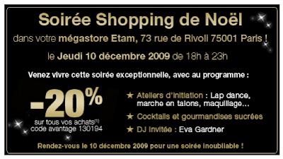 Soirée Shopping de Noël : Etam Rivoli