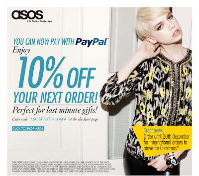 Bon plan shopping ASOS – 10% + Paypal