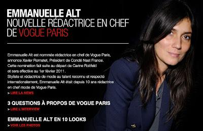 emmanuelle-alt-vogue >Emmanuelle Alt nouvelle Rédactrice en Chef de Vogue Paris