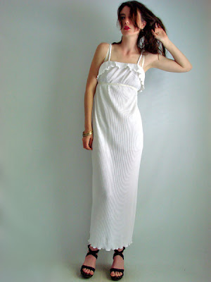 Marble white Grecian goddess hippie wedding dress