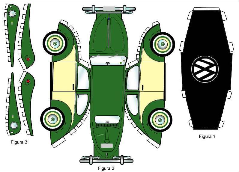 VW Beetle Papercraft Template
