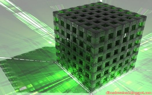 3D Digital Art Green Cubes