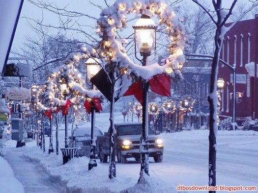 snow and street lamps