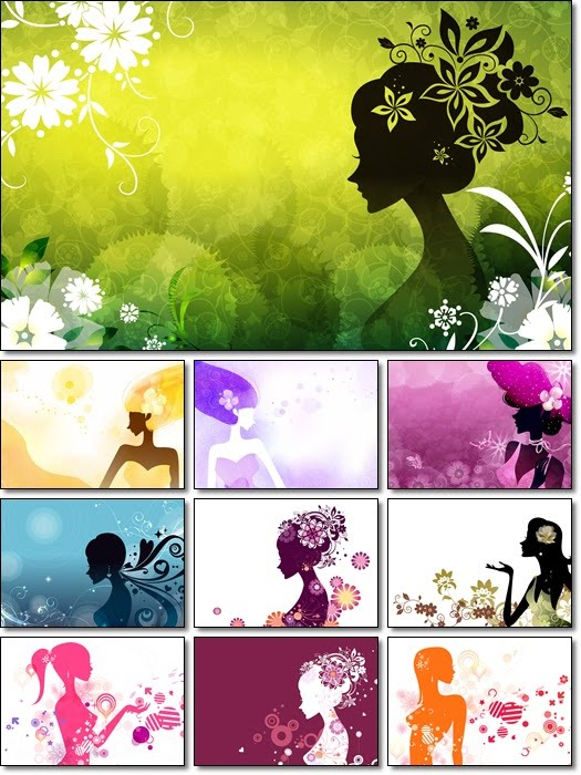 Digital Art Girls Silhouettes Wallpaper
