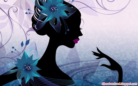 purple silhouette of women and flowers