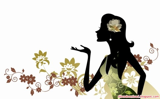 silhouette of women and flowers 2