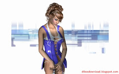 Three Dimensional Blue Mini Skirt Girl