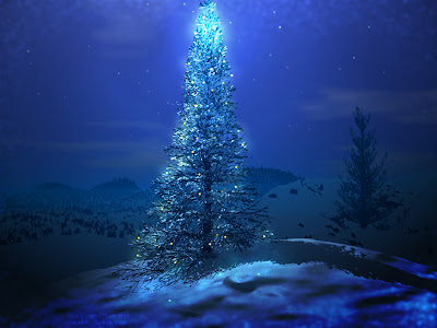 Holiday Wallpaper 1024 768 - Beautiful Shining Blue Christmas Tree