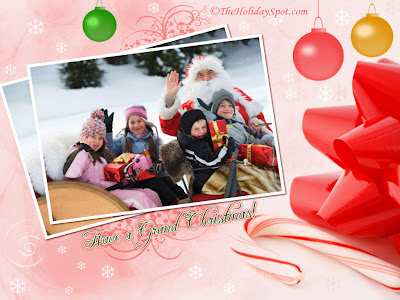 Holiday Wallpaper 1024 768 - Santa Taking Picture With Kids In Sleigh