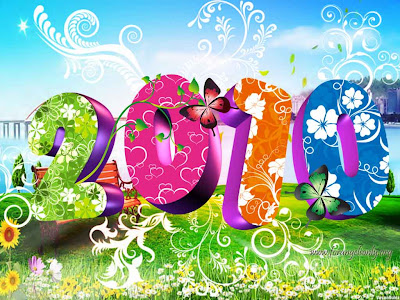 Celebration Wallpaper 1024 768 - 2010 Happy New Year Colorful 3D Text Art Design