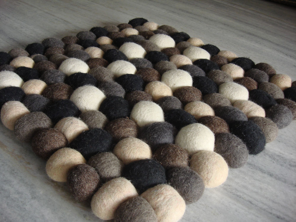 Woollen Ball Rugs Felted Tulsiram Rugs