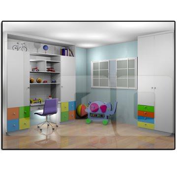 quarto imfantil en mdf branco com gavetas coloridade