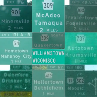 Pennsylvania, New Jersey and Connecticut road signs - McAdoo, Minersville, Trexlertown, Fogelsville, Hometown, Quakertown, Kutzville, Krumsville, Wiconisco, Drinker St., Bethlehem, ?Hellertown, Moosic.
