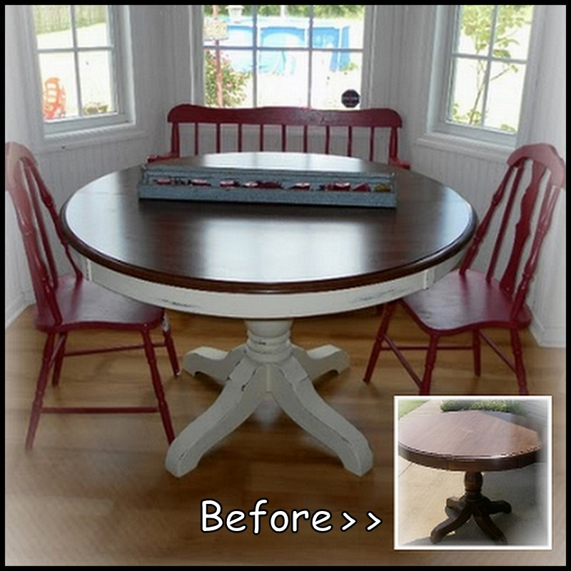Dollar store crafter pedestal kitchen table makeover - Kitchen table redo ...