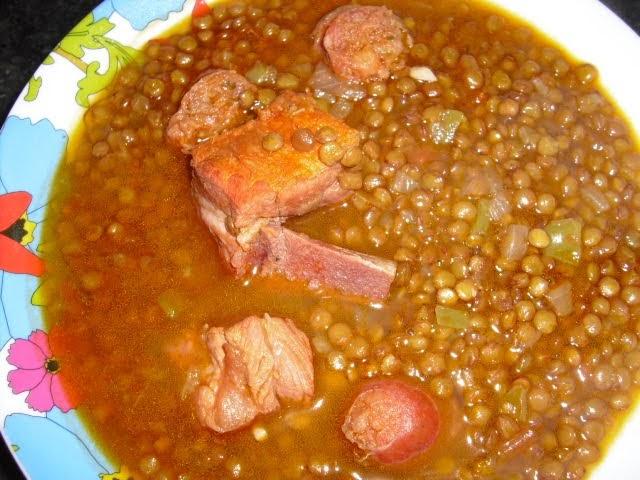Las recetas de la lidia lentejas con costilla adobada y chorizo - Lentejas con costillas y patatas ...