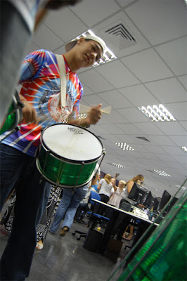 Ni el sonido de la rotativa puede con esto. Foto: R. Salaverría, 10/09/2008