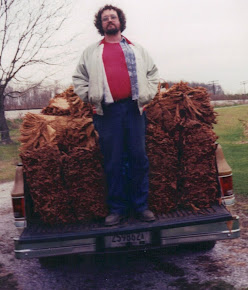 Tobacco Culture runs deep in this family.  Dad with our crop around '95 or so.